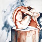 Mann sitzend siena-indigo - 42x58